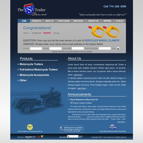 Motorcycle Trailer Retailer Needs eCommerce Design