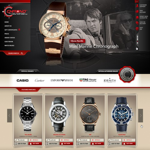 Website design for Chrono Watch Company