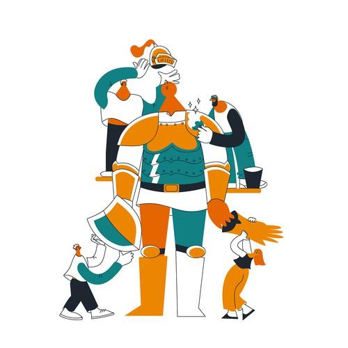 Website illustration for AI startup