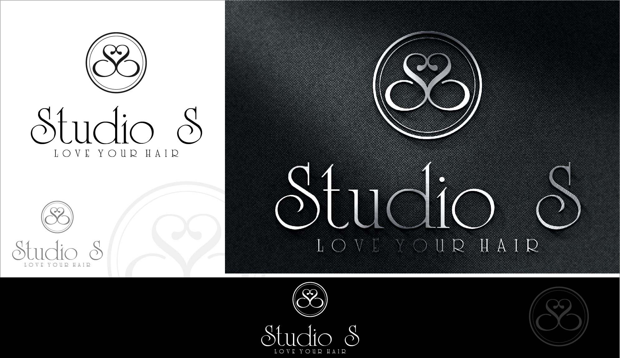 Create a modern yet hand crafted logo for Studio S, a high end hair salon