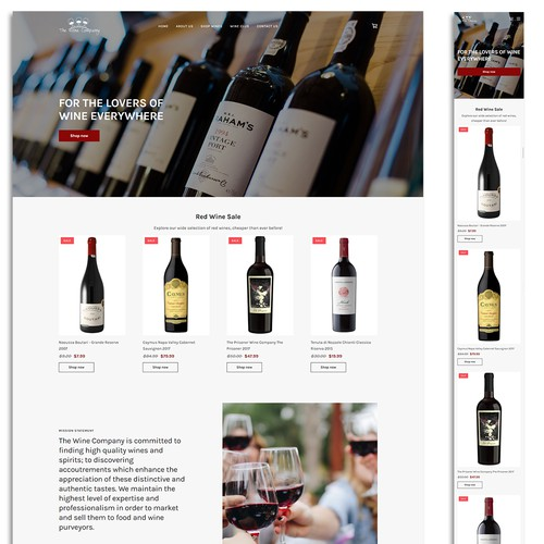Ecommerce website for an online wine shop