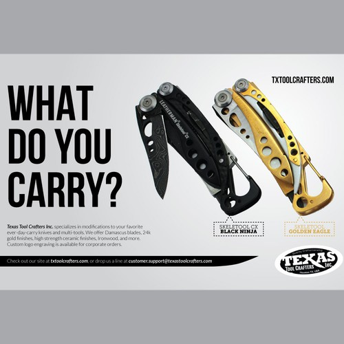 Half page magazine ad for custom knives and multi-tools