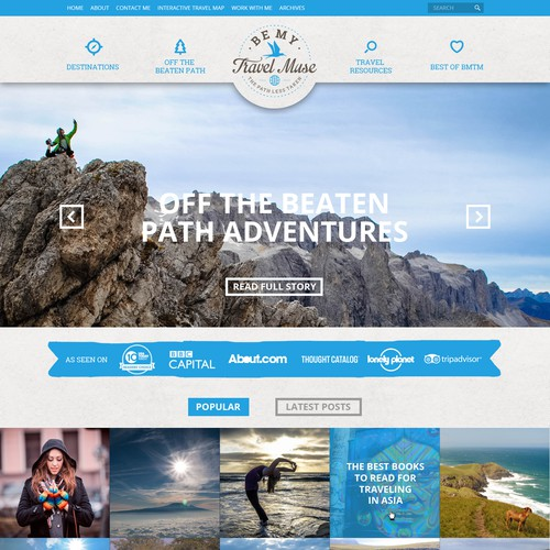 Web design concept for BeMyTravelMuse