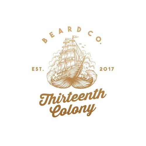 vintage illustration logo for Thirteenth Colony Beard Co.