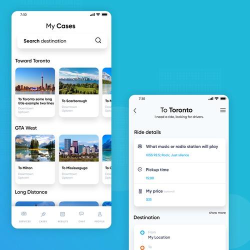 Ride-sharing service mobile app design