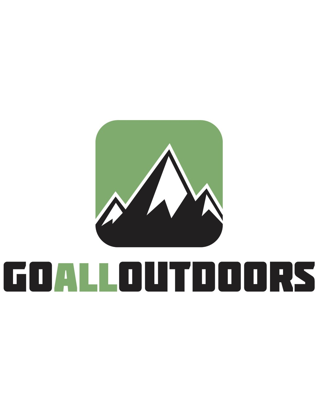 Design a logo with mountains for an outdoors website to help people get outside and stay active.