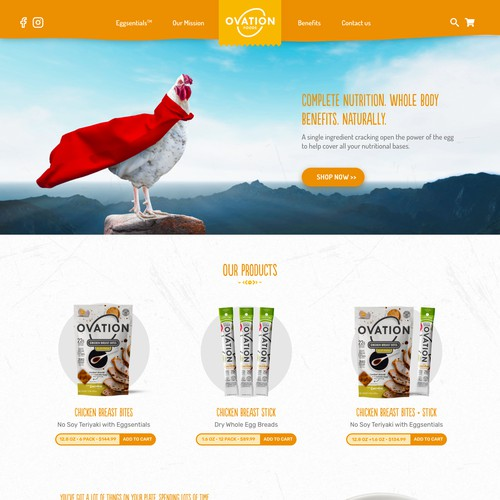 Ovation Foods - Landing Page