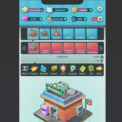 City building - idle clicker mobile game design