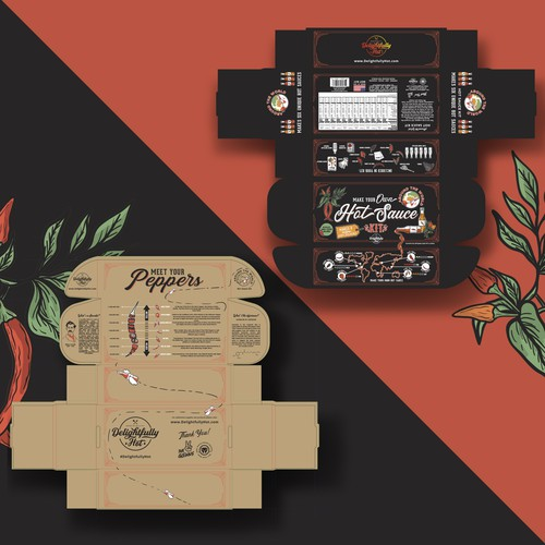 Delightfully hot sauce package design 🌶🌱
