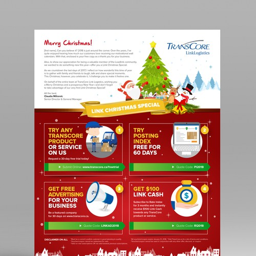 Design a Happy Holidays Letter and Promo for Trans Core Link Logistics