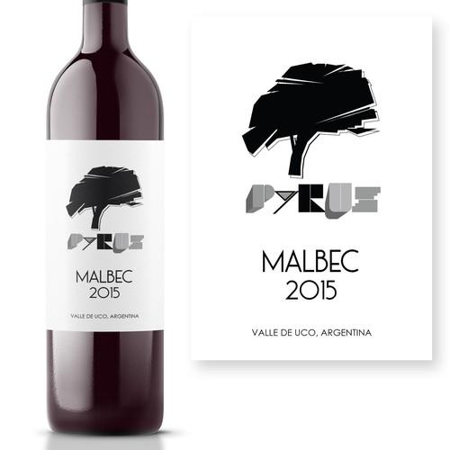 Bauhaus style hand drawn wine label