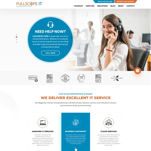 Web page design for Leading IT company