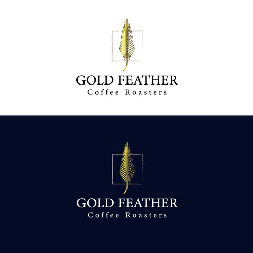 Gold feather , elegant design for coffee roasters