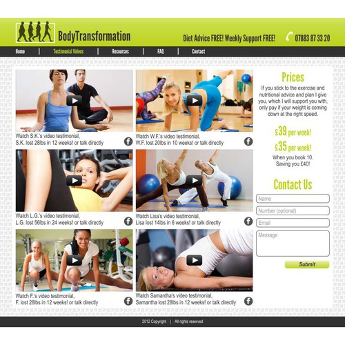 Create the next website design for body transformation