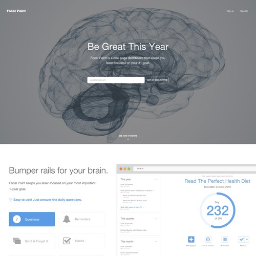 Clean, minimalist design for goal website