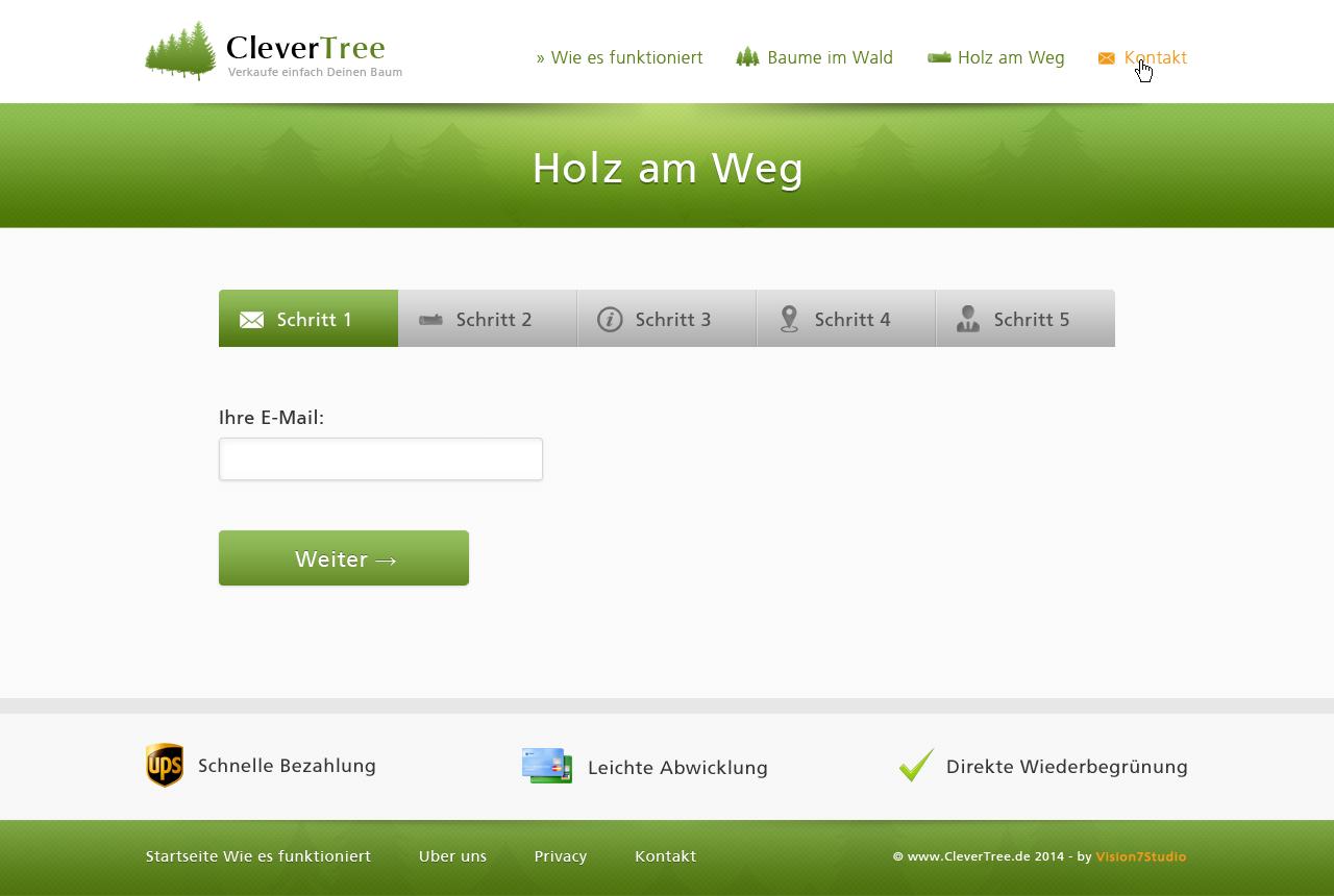 sell your tree online! conversionoptimierte Seite zur Angebotsvermittlung