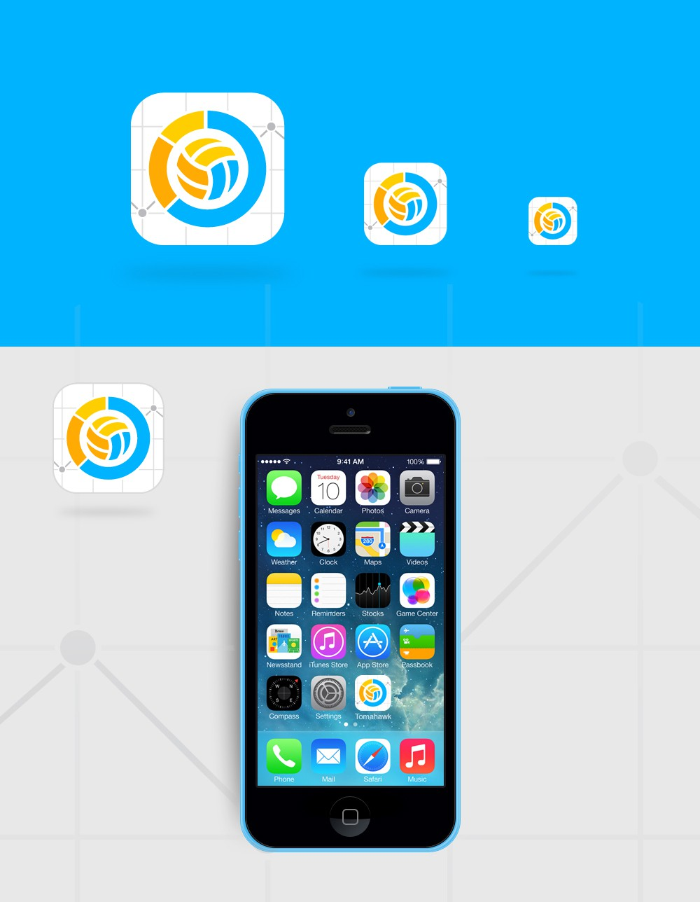 Create an app icon for beach volleyball analytics app