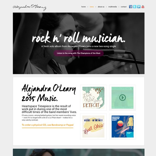rock n' roll music website for a rock n' roll girl