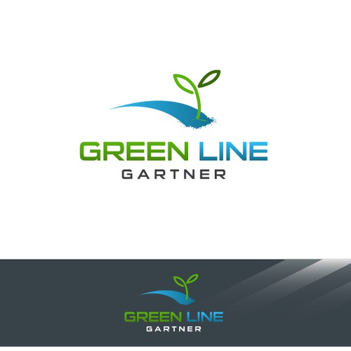 Create the next logo and business card for Green Line Gartner
