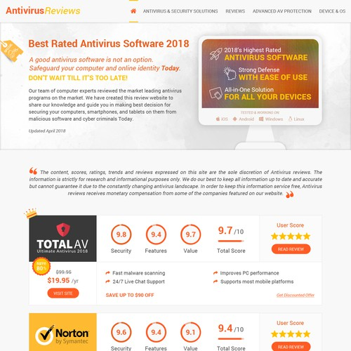 WordPress Design for Antivirus Reviews