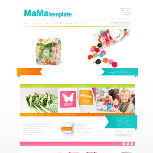 E-commerce website template for moms and kids