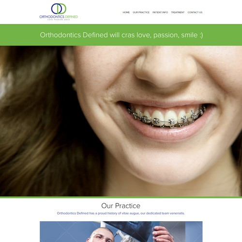 Create the next website design for Orthodontics Defined
