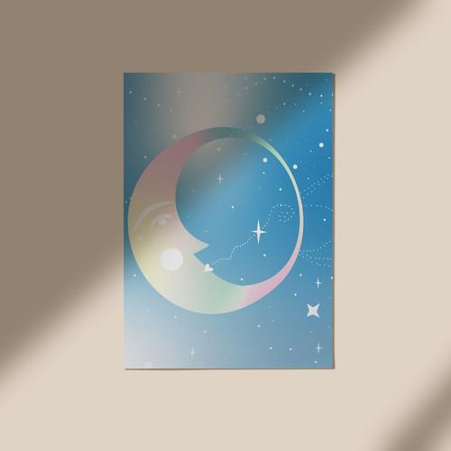Moon Card Illustration