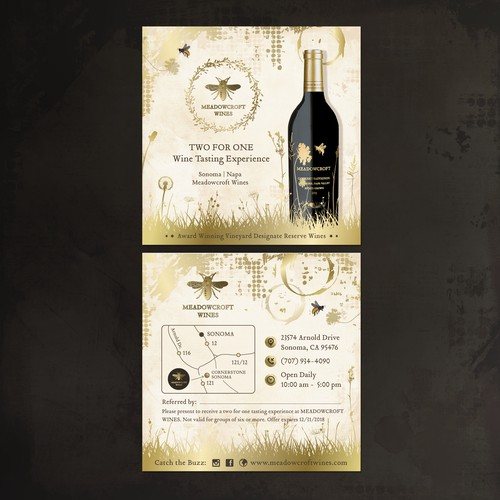 Invitation card for Winery Tasting Room in modern country style