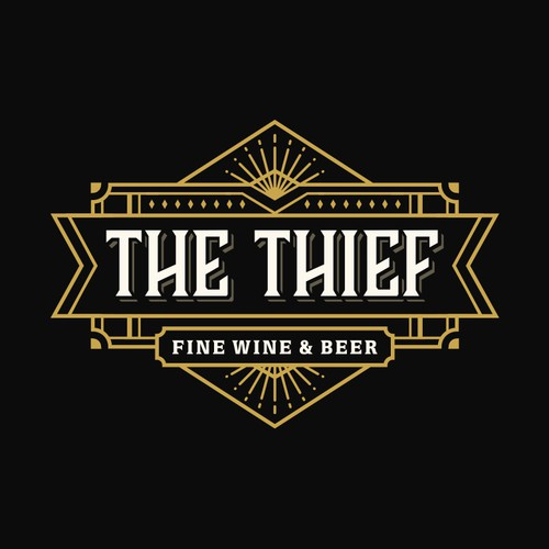 "Logo for ""The Thief"" wine & beer."