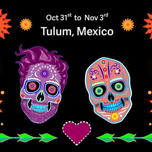Illustration for a Day of the Dead themed wedding invitation