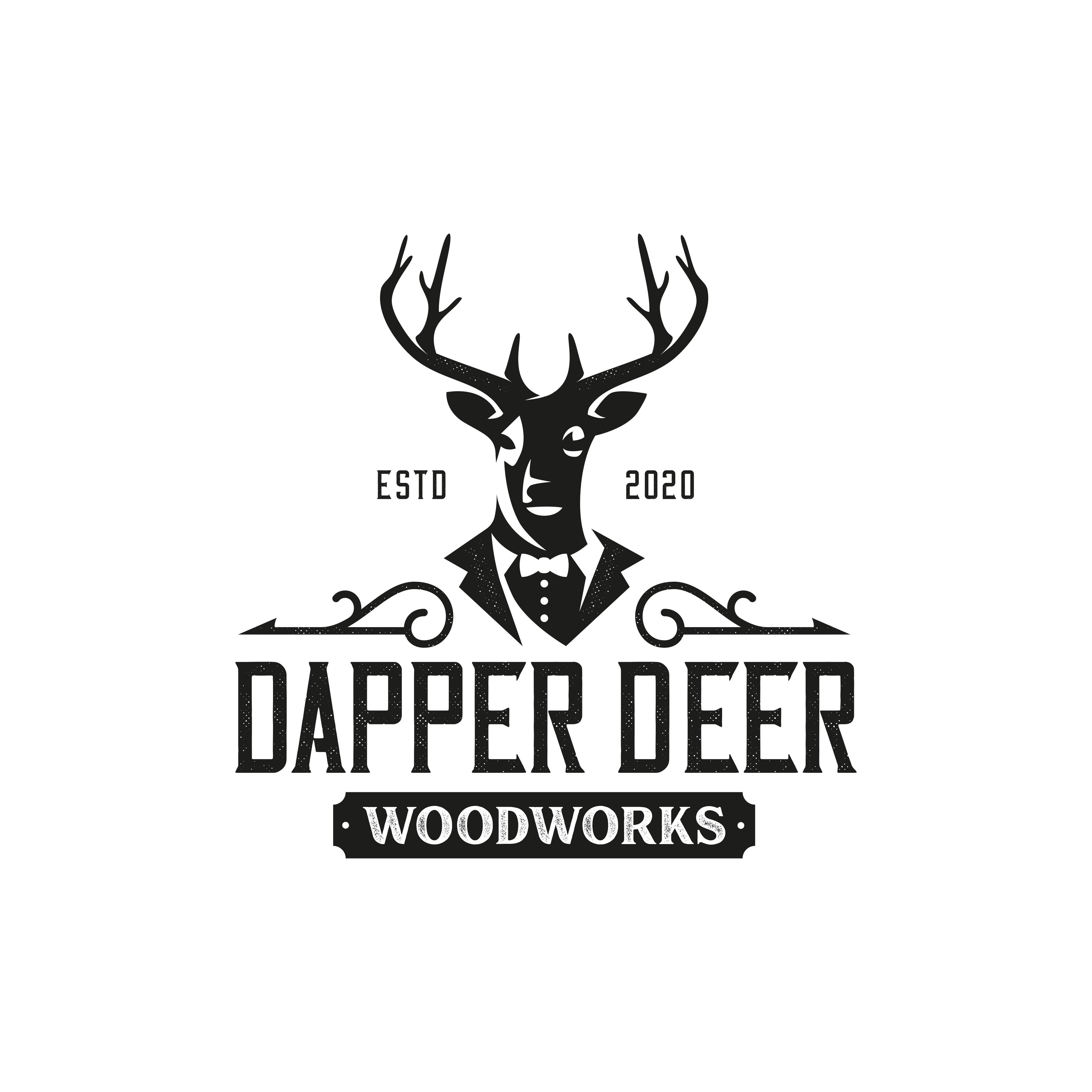 Vintage Dapper Deer logo for high-end woodworking.