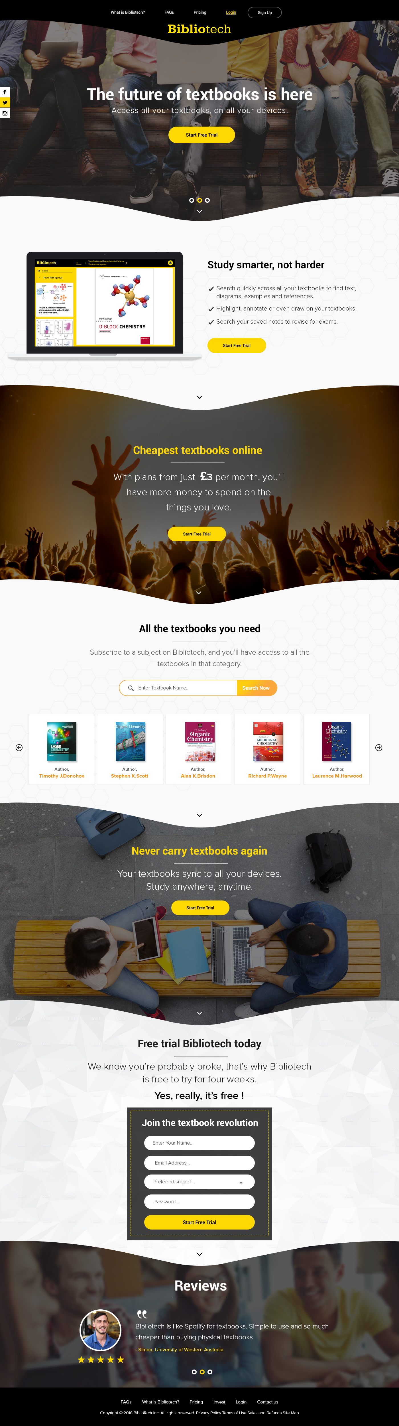 Landing page for 'Spotify for textbooks' app called Bibliotech