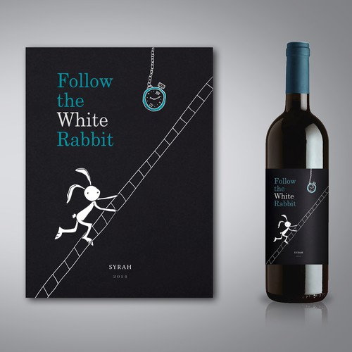 Follow the White Rabbit Wine Label