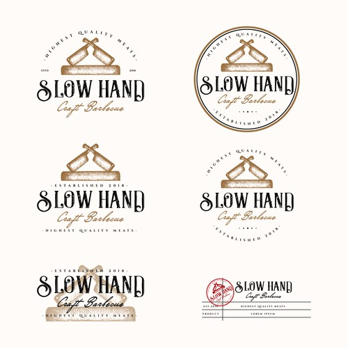 Vintage Logo for SLOW HAND CRAFT BARBECUE