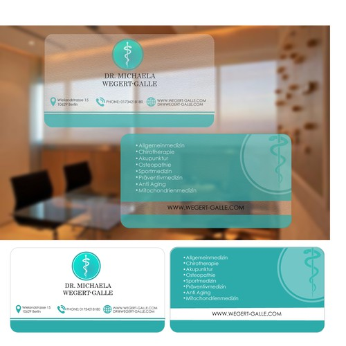 Create a business card that shows strong motivation towards thepatients and give impression he/she is cared for