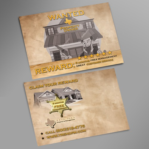 """Wanted"" Style property management postcard"