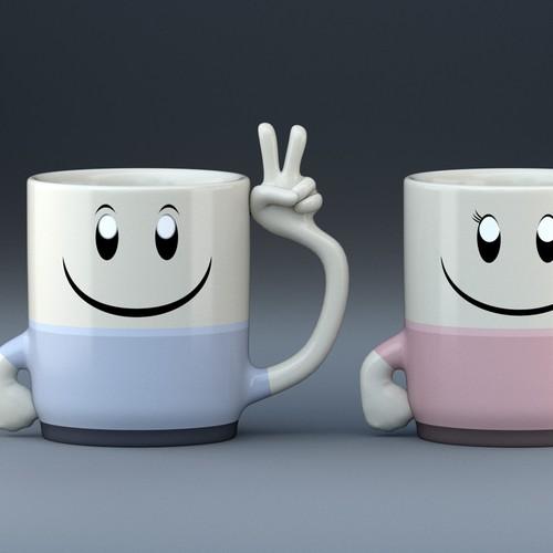 3d peace sign mug