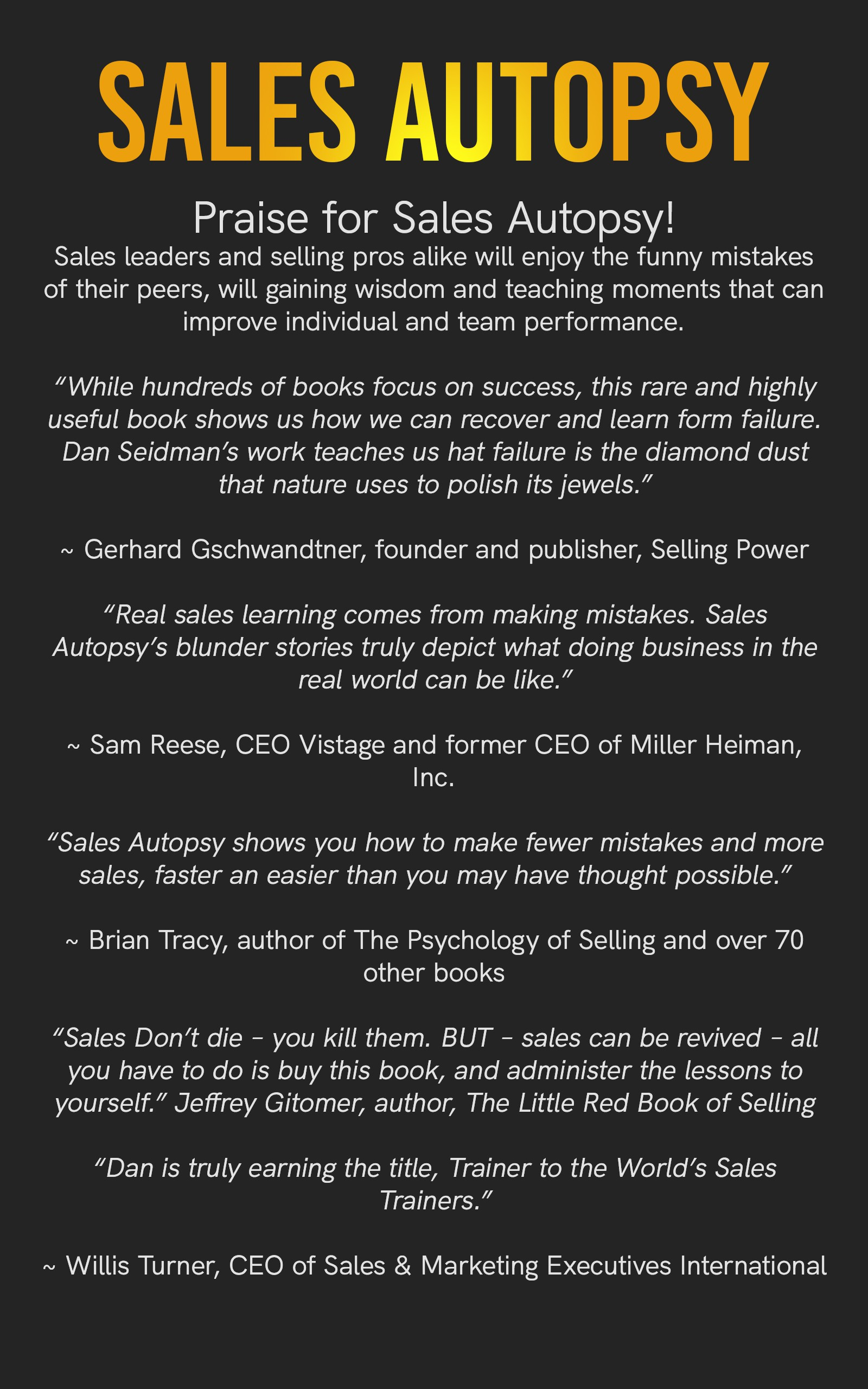 Sales Autopsy! 2nd edition