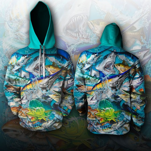 Deep Water Fishing Collage Hoodie Design
