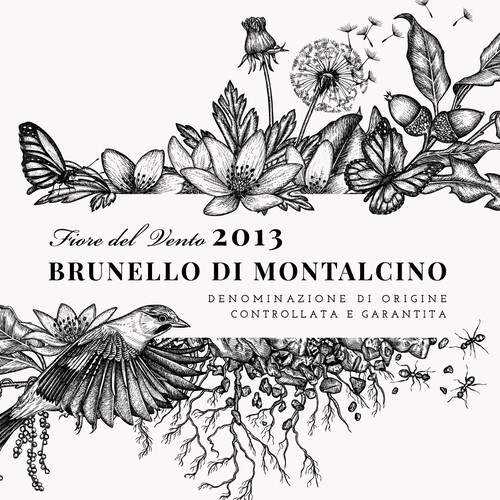 "Illustration for Brunello di Montalcino 2013 - Fiore del Vento Label of ""Corte Pavone"" Wine Estate in Montalcino, Toscana."