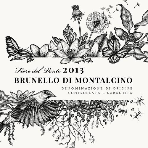 """Illustration for Brunello di Montalcino 2013 - Fiore del Vento Label of """"Corte Pavone"""" Wine Estate in Montalcino, Toscana."""