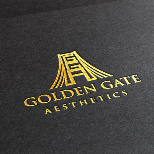 Create a sophisticated logo that re-imagines concepts of the golden gate bridge & medical aesthetics