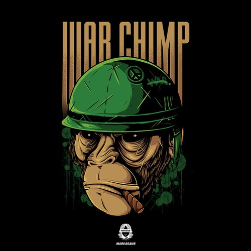 War Chimp T-Shirt Illustration