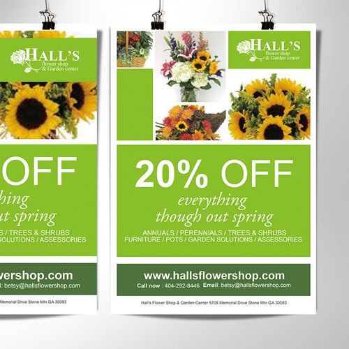 Create an eyecatching reusable template for a flower shop.