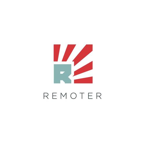 A clean propaganda-inspired remote community logo design.
