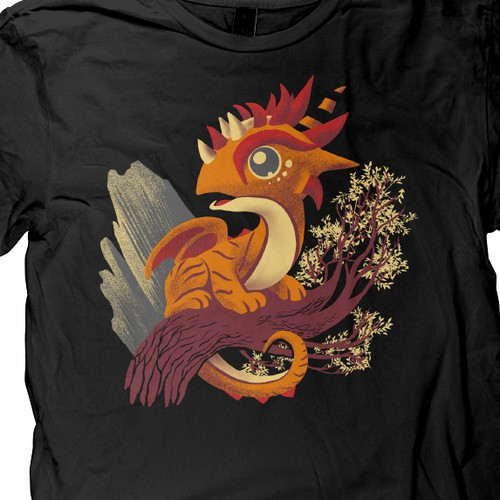 cute dragon character t shirt design