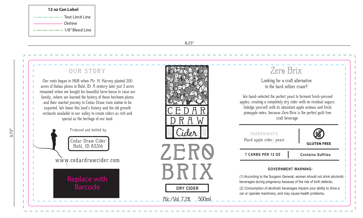 Label for our new zero sugar variety