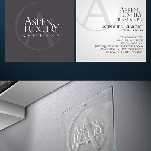 logo and business card for ASPEN LUXURY BROKERS