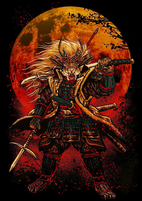 Manga style samurai lion illustration