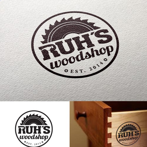 Creative, clean & refined, memorable logo that references woodworking (dovetail joint, saw blade?)